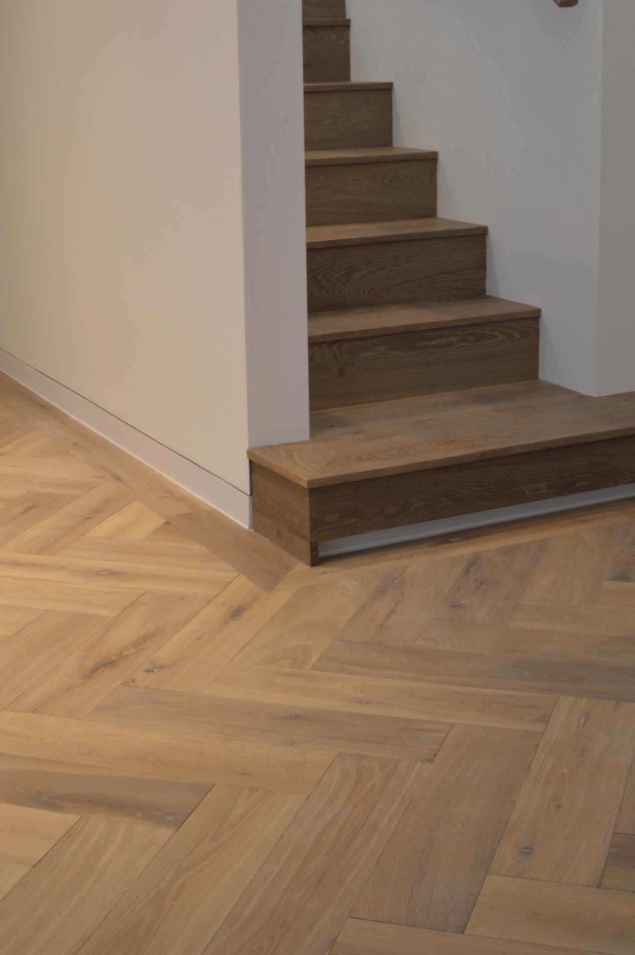 Oak landmark dyrham herringbone with enclosed staircase and floor light