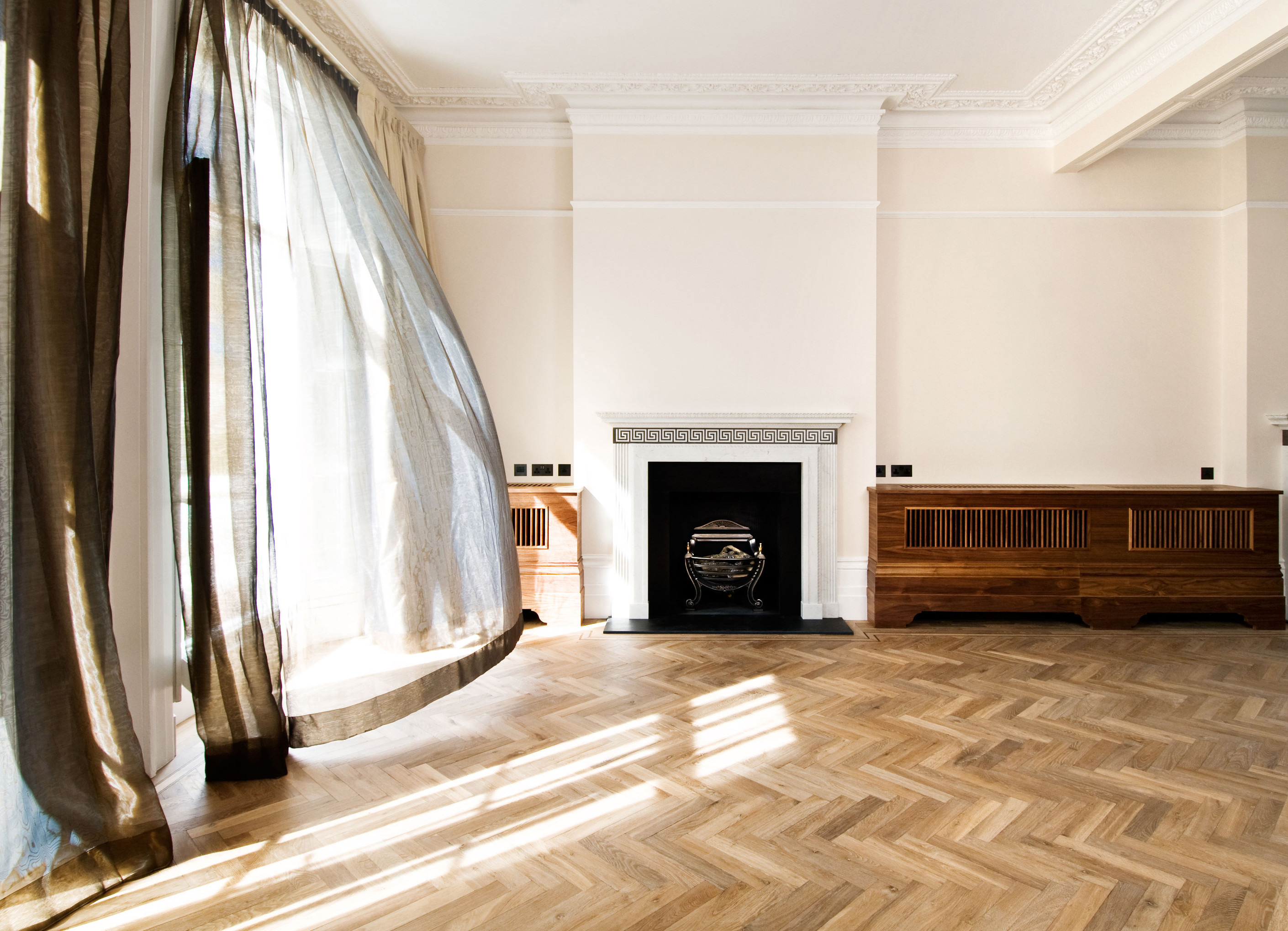 Oak landmark saltram herringbone with marble fireplace and billowing curtain