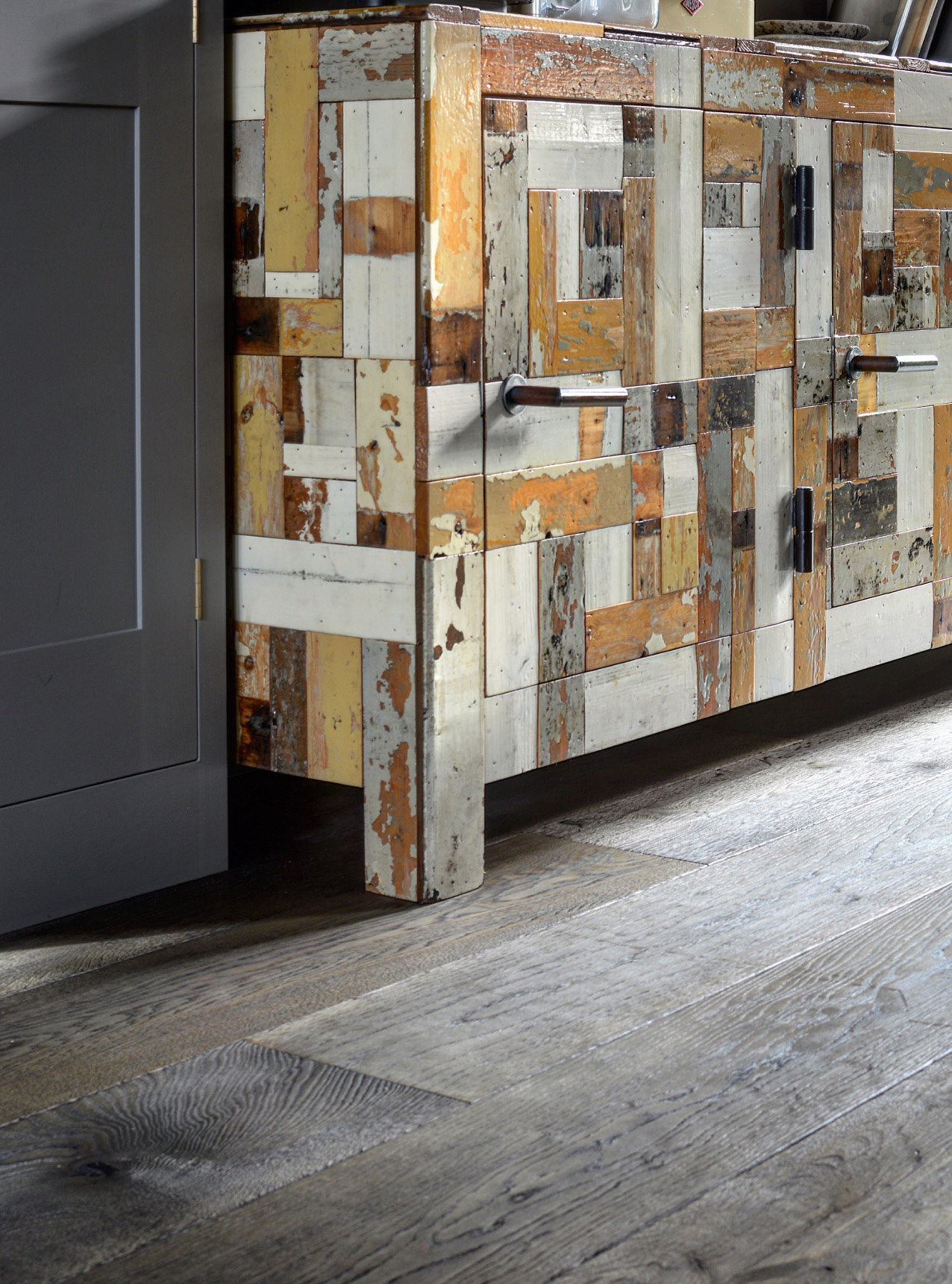 Oak magma mayon plank with reclaimed sideboard in yellow white and grey tones