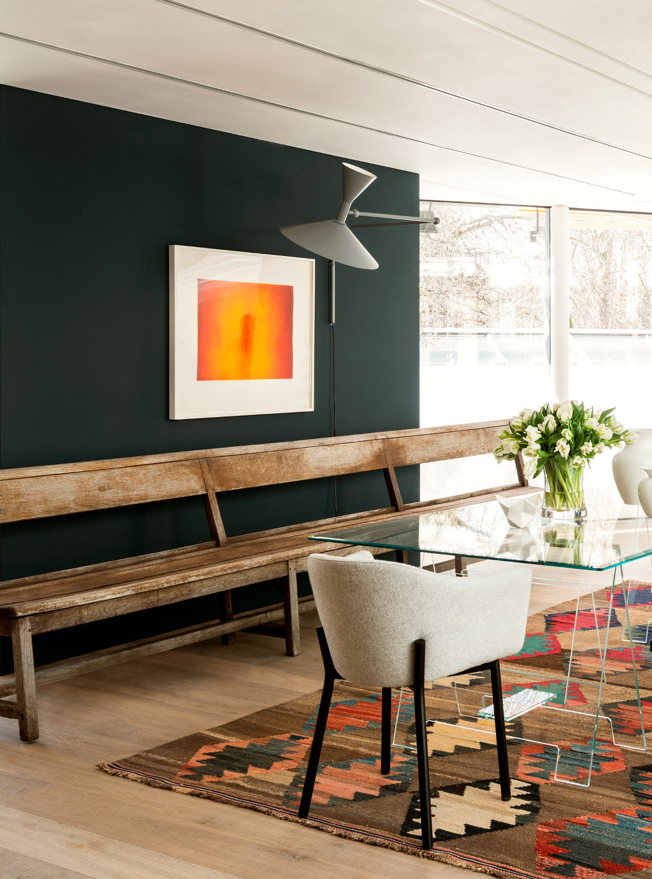 Oak tate skye plank in conran store with long antique wooden bench and glass dining table