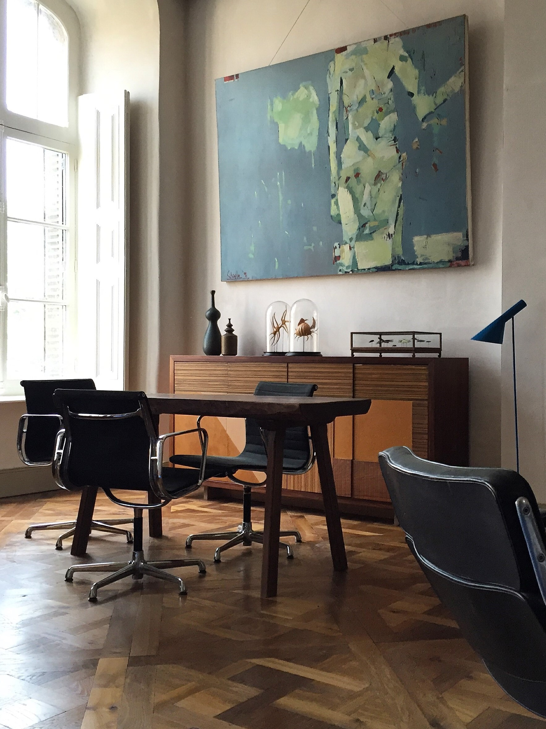 Versailles Tatton floor with table and midcentury sideboard
