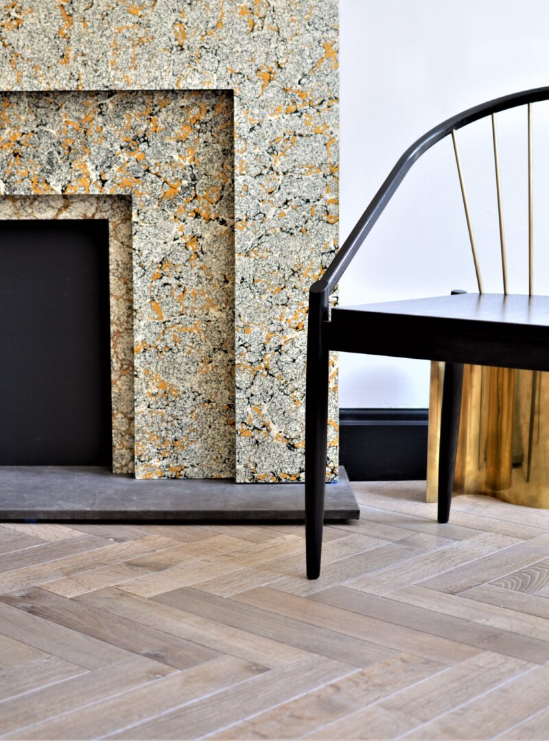 DYRHAM fireplace and chair