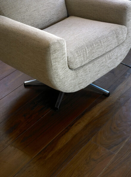 Lapacho plank with pedestal base easy chair