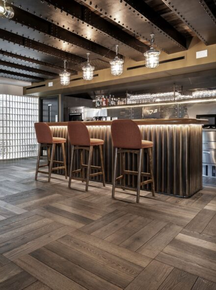 Magma stromboli bespoke pattern with herringbone batten and bar