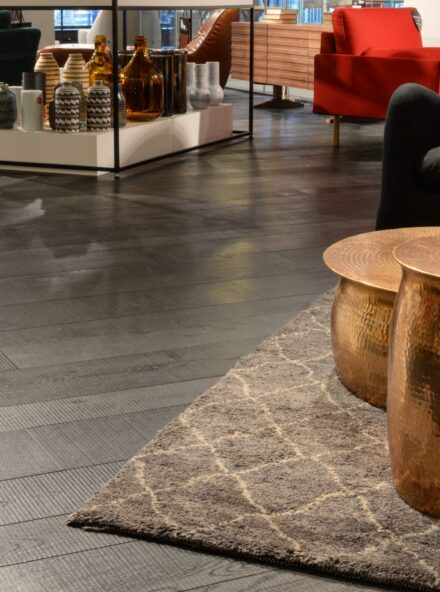 Dark textured oak floor Tate Iona by solidfloor co uk in basement habitat tottenham court road