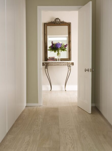 Polar White floor hallway with mirror