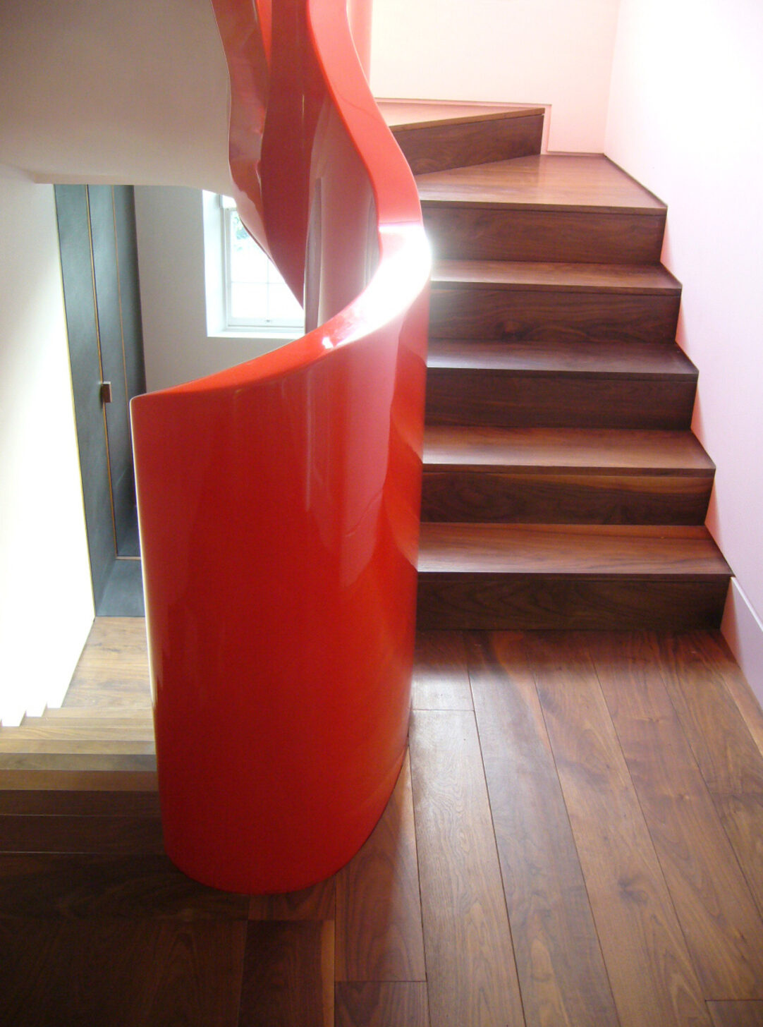 American Black Walnut Staircase with orange spindle