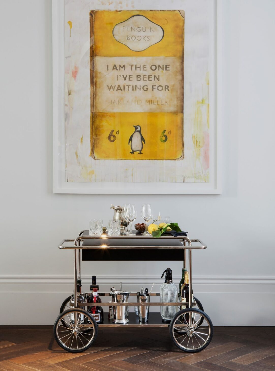 Oak landmark montacute in Laslett Hotel Henderson Bar library with penguin books poster photo by Ana Cuba