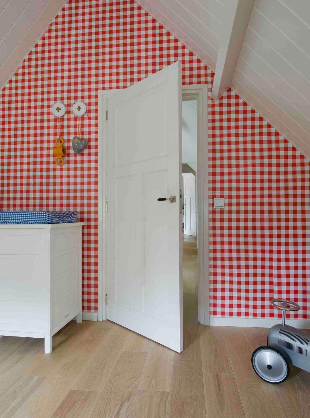 Oak landmark saltram plank floor in bedroom with toy car and gingham wallpaper