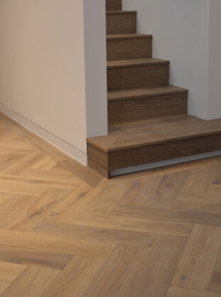 Oak landmark dyrham herringbone with enclosed staircase and floor light