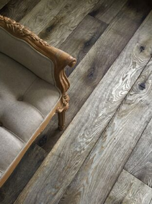 Oak magma stromboli plank birds eye view with antique daybed