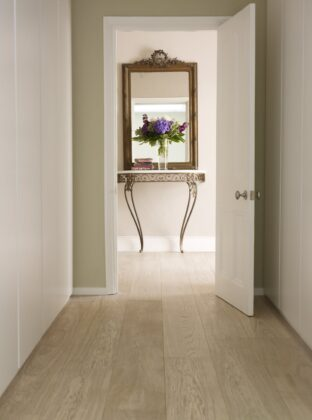 Polar White floor hallway with mirror