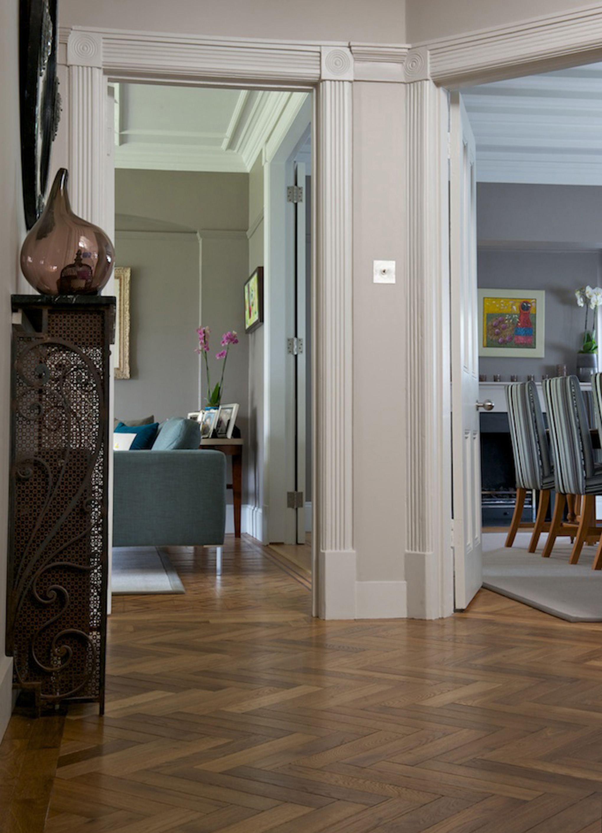 Oak landmark dalton herringbone hallway with two doors and plinth