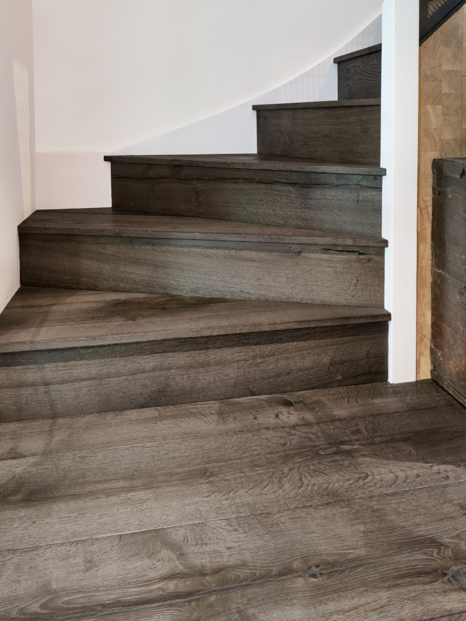 Oak magma mayon dark timber clad staircase with square edged bullnose detail