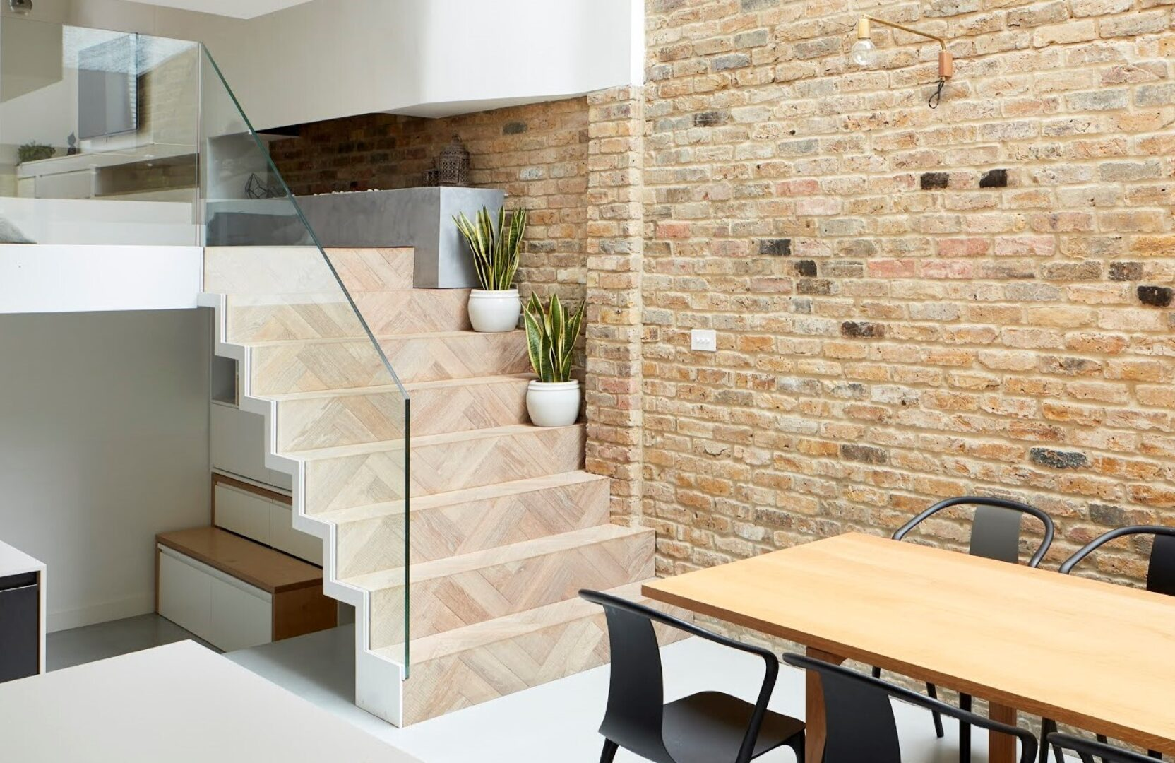 Steps with herringbone detail at the scenario house