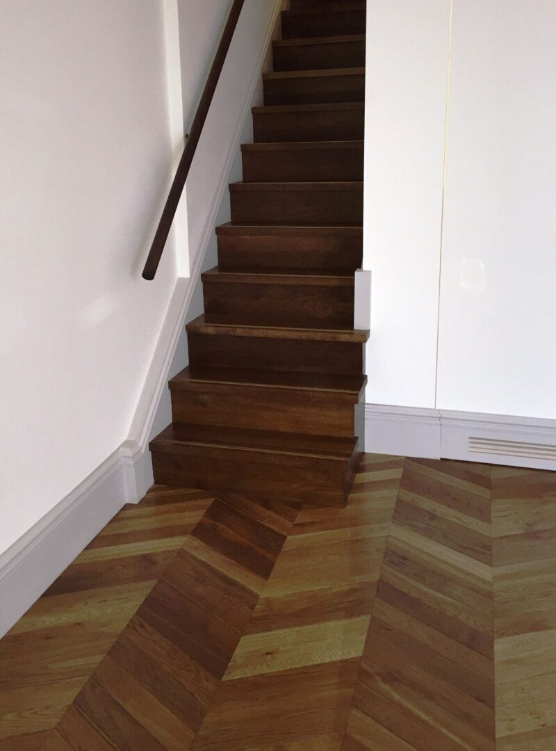Chevron Dalton with matching stairs