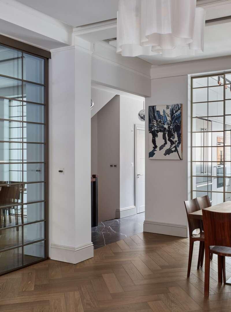 TREDEGAR herringbone dining room hallway