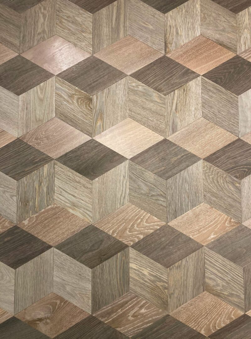 Large cube timber floor pattern sample