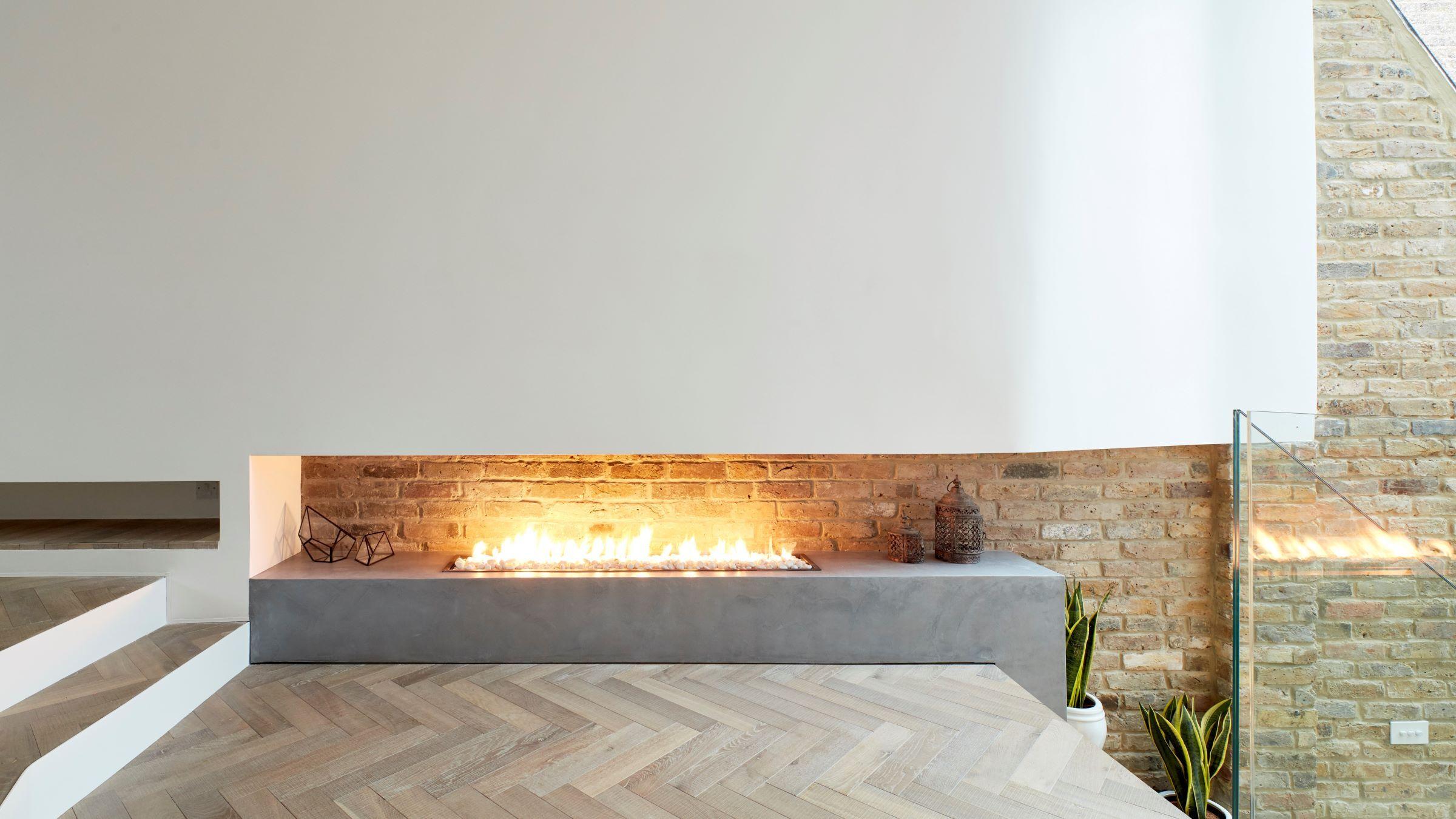 Oak Tate Bute herringbone floor scenario architects Hackney home with fireplace