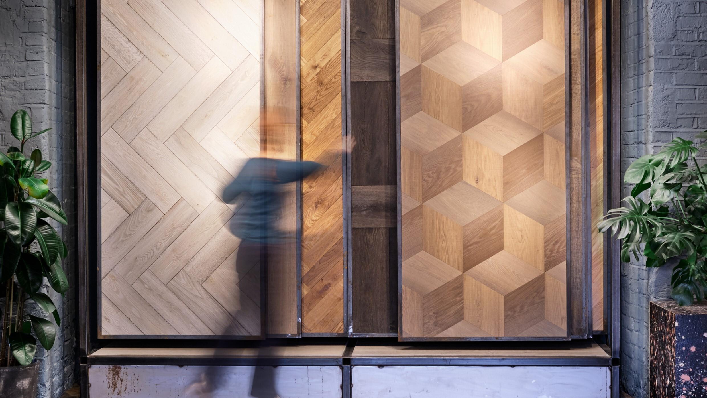 Solid Floor East showroom large hanging panels timber flooring