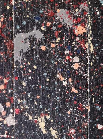 Engineered oak black painted flooring with pollock style splodges