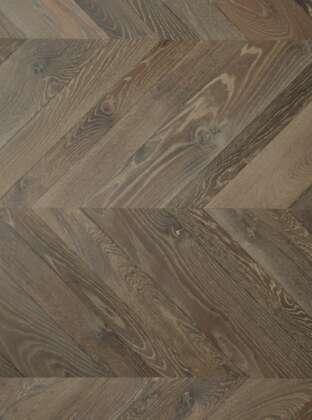 Dark oak parquet floor GUNBY chevron mixed width